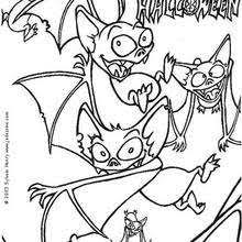 Crazy Bats Flying Bat Coloring Page