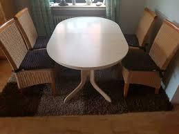 esszimmer tisch 5 rattan stühle