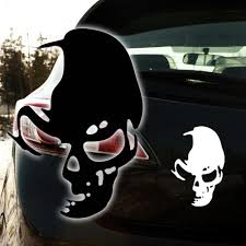 Black Cool Skull Ghost Rear Side Door Reflective Car Truck Stickers ...