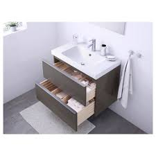 Ikea Double Sink Vanity Unit by Godmorgon Odensvik Sink Cabinet With 2 Drawers High Gloss Gray
