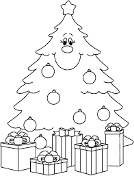 Printable Christmas Tree Coloring Pages Happy Holidays Inside Template For