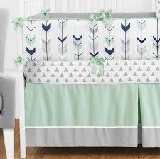 Arrow Crib Bedding by Mint Bedding Set Mint U0026 Navy Wide Stripe Designer Dorm Bedding