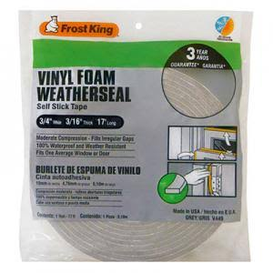 "Frost King Vinyl Foam Weather-Strip Tape - Gray, 3/4"" x 3/16"" x 17'"