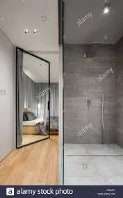 modernes bad mit einer großen begehbaren dusche neben dem