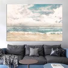 großhandel abstrakte leinwand strand meer malerei wand kunst bilder nordic poster und druck wandbilder für wohnzimmer dekor keinen rahmen
