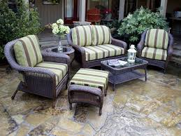 Image Of Charming Plastic Covers For Patio Furniture Vintage Wicker Sofa With Green Brown Striped
