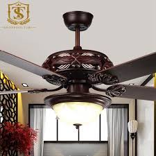 2017 vintage carved wooden blades ceiling fan light 52inch led