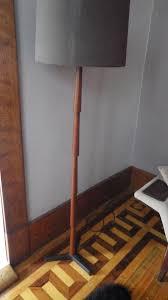 100 Mid Century Modern Canada Kalmar Cast Iron Tripod Base Teak Floor Lamp