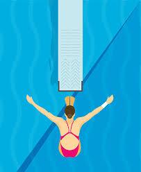Jumping From Diving Board Design Illustration Vector Art