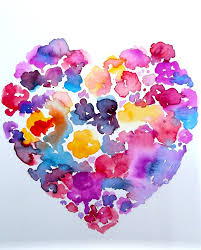 Love Floral Heart Abstract Watercolor