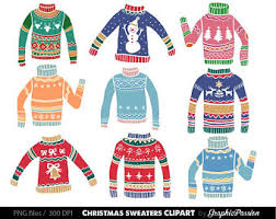 Ugly Christmas Sweater Clipart Graphics Digital Clip Art Clothes Holiday Sweaters