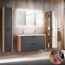 lomado badmöbel komplett set mit doppel keramik waschtisch matera 56 matt grau artisaneiche led spiegel b h t ca 235 200 46 cm