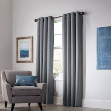 Lowes Canada Blackout Curtains by Shop Allen Roth Withern 84 In Grey Polyester Grommet Blackout
