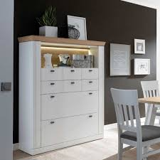 esszimmer highboard in weiß mit eiche furniert led