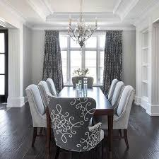 Gray Dining Room With Medallion Curtains