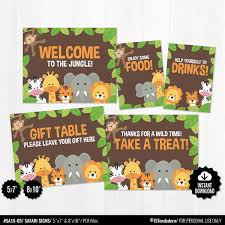 Baby Shower Table Signs Package Printable Safari Signs Etsy