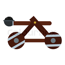 siege design siege catapult icon flat illustration of catapult vector