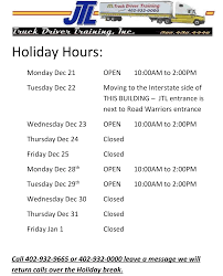 Holiday Hours & New Office Location - JTL 70 Best Road Train Images On Pinterest Train Trucks And Gta 5 Online Police Patrol Day 1 Crazy Truck Drivers Department Of Motor Vehicles Omaha Impremedianet Transportation Logistics Young Moore Attorneys Cdl Traing Classes In Missouri 19 Trucking Schools 2017 Info Driver Videos Amazoncom Rapid Dominance Rapdom Usa Text Ripstop Mens Trucker Prank Call Very Funny Abusive Jitwhsejpg Real Euro Simulator Grand Android Apps