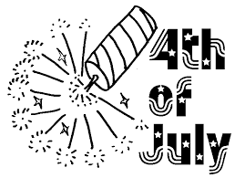 Fourth July Black And White Clipart