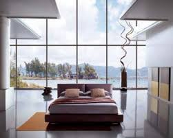 Modern Large Design Of The Bedroom Decoration With Windows That Has Black Granite Floor Can Be Decor Bed Add Beauty