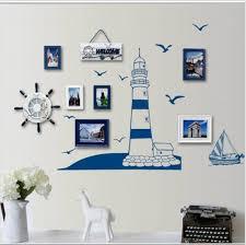 Blue Ocean Lighthouse Seagull Photo Frame DIY Wall Stickers Home Nautical Decor Art Bedroom Living