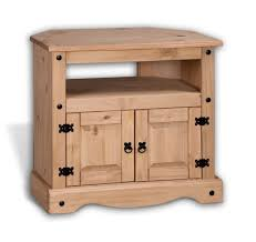Corner TV Unit Rustic Style Solid Wood Cabinet Stand Pine Cottage Shelves Waxed