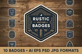 Rustic Line Art Badges Logo Templates Creative Market