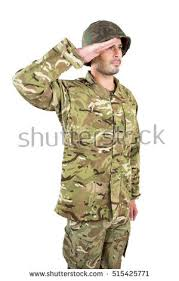 Close Up Of Soldier Saluting On White Background 515425771
