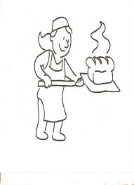 Baking Bread Clipart or Coloring Page