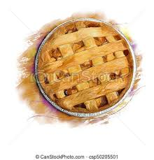 Apple Pie Watercolor Stock Illustration