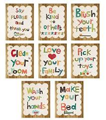 Good Manners 5x7 Wall Cards Nursery Decor Gender Neutral Kids Art