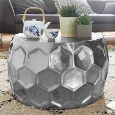 wohnling couchtisch honeycomb aluminium anstelltisch orientalisch silber rund