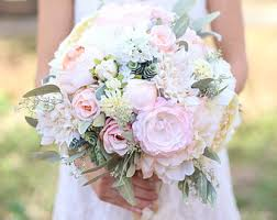 Silk Bride Bouquet Cream And Pale Pink Roses Peonies Wildflowers Natural Shabby Chic Vintage