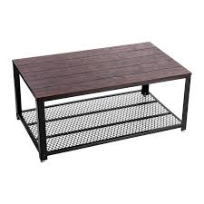 Amazoncom VASAGLE Industrial Coffee Cocktail Table With Large