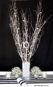 Add Some Rustic Magic To Your Black White Stripe Event Or Wedding Table Decor For Hire In Brisbane Branches Adorned With Fairy Lights Filled A