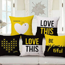 24 X 24 Patio Cushion Covers by Yellow And Black Love Cushion Cover English Letters Cojines Heart