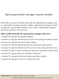 Top 8 Supermarket Manager Resume Samples In This File You Can Ref Materials For