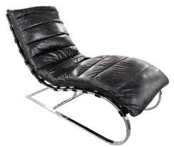 casa padrino luxus echtleder liegesessel schwarz silber 150 x 61 x h 81 cm wohnzimmer lounge liege relax sessel