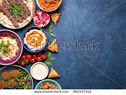 Middle Eastern Or Arabic Dishes And Assorted Meze On Concrete Rustic Background Meat Kebab