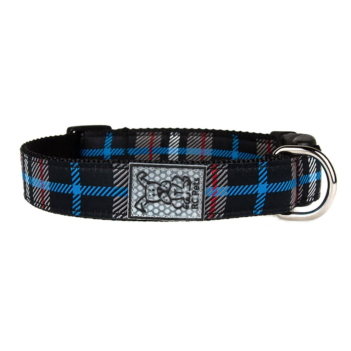Black Twill Plaid Adjustable Clip Dog Collar by RC Pet - X-Small