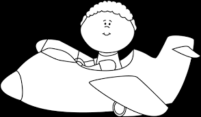 Black and White Kid Flying an Airplane