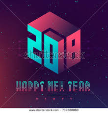 Happy New Year 2018 Party Futuristic Stock Vector