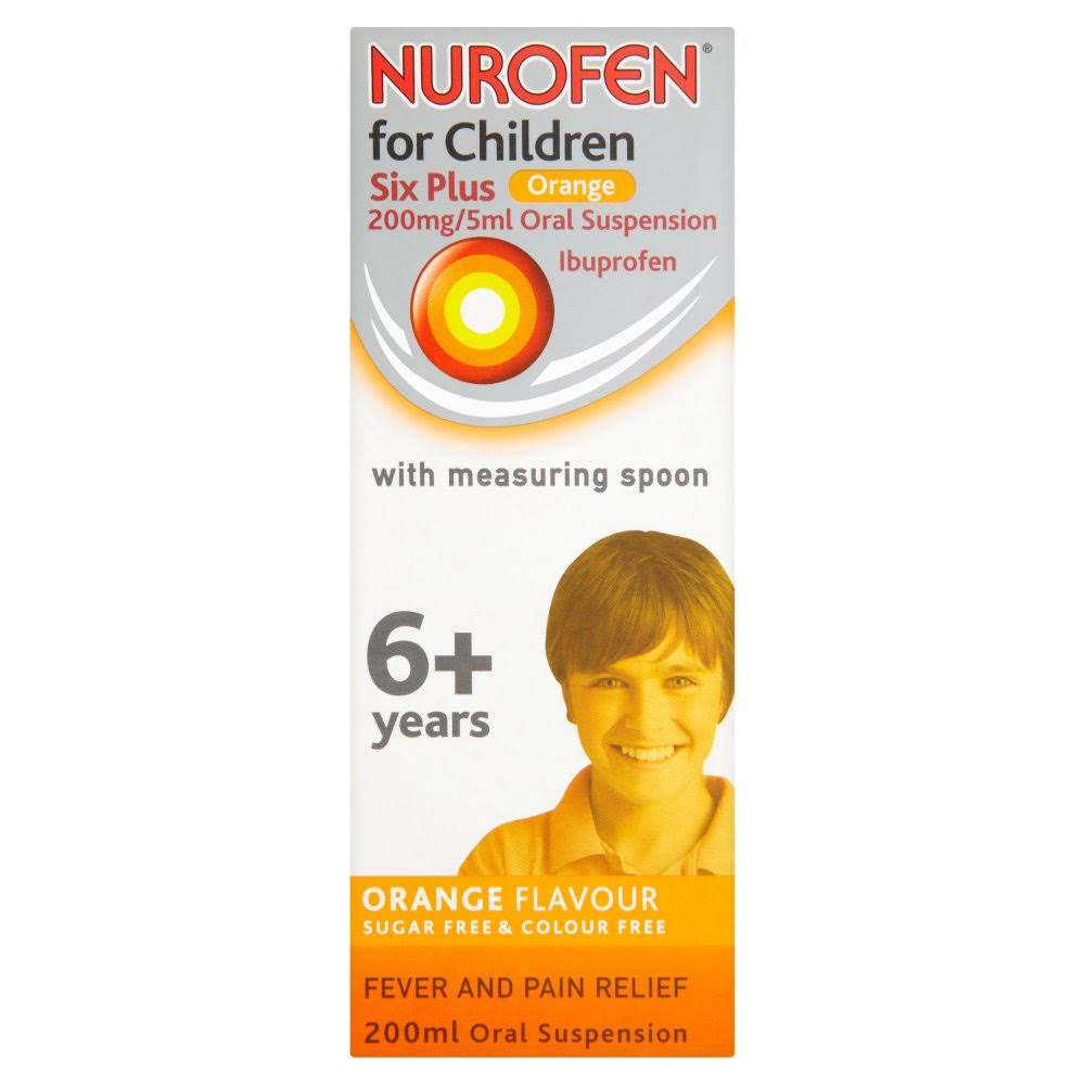 Nurofen Children's 200mg/5ml Oral Suspension + Measuring Spoon - Orange, 6+ Year, 200ml