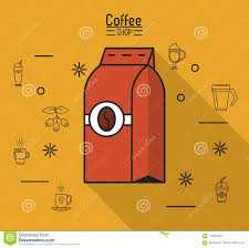 Colorful Poster Of Coffee Shop With Bag Ground In Yellow Background