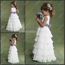 cheap flower girls dresses weddings chiffon white purple
