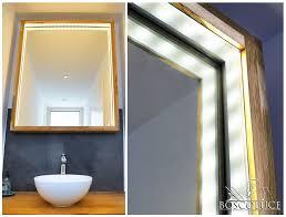 wunderschöner holz spiegel mit led beleuchtung spiegel