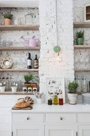White Brick Wall And Rustic Wooden Shelves For Eclectic Kitchen Ideas