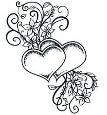 Two Hearts Entwined Stamp Stempel Flower Coloring PagesAdult