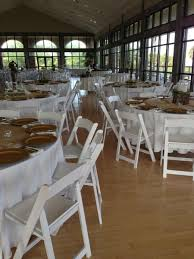 White Garden Chair Seating Reception At Sanders Beach Community Center