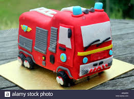 100 Fire Truck Birthday Cake Childs Homemade Red Fire Engine Birthday Celebration Cake On A
